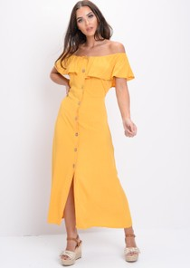 Bardot Button Front Maxi Dress Yellow