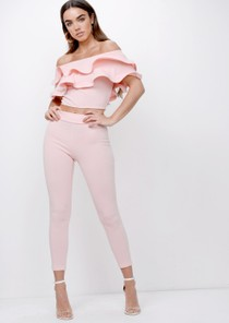 Bardot Frill Top and Trousers Co Ord Pink