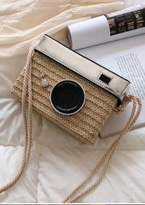 Braided Basket Wicker Camera Tote Bag Beige