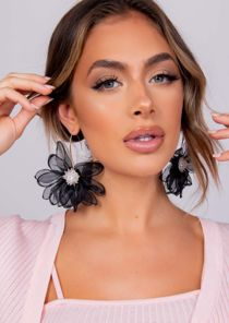 Beaded Fabric Flower Earrings Black