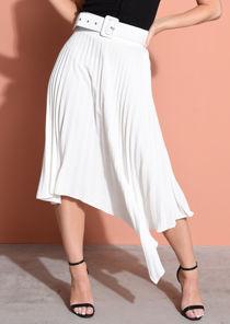 Belted Asymmetric Hem Pleated Midi Skirt White
