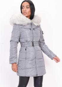 Belted  Faux Fur Hooded Longline Puffer Coat Grey
