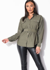 Belted Utility Long Sleeve Shirt Khaki Green