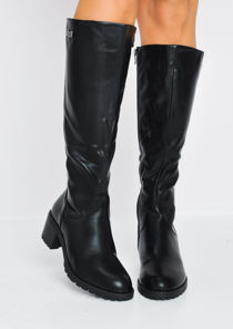 Biker Style Cleated Sole Long Boots Black