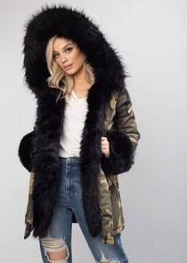 Black Faux Fur Hooded With Cuffs Full Fleece Parka Camo Khaki Green