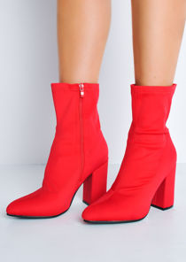 Block Heel Pointed Toe Sock Fit Ankle Boots Red
