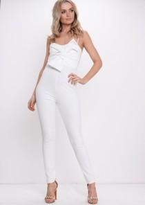 Bow Front Jumpsuit White