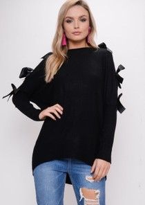 Bow Knitted Jumper Dress Black