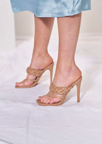 Braided Cross Over Square Toe Strapped Mule Heels Beige