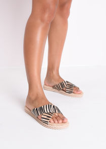 Braided Detail Cross Over Zebra Print Sliders Beige