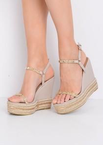 Braided Faux Suede Wedge Sandals Beige