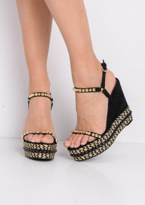 Braided Faux Suede Wedge Sandals Black
