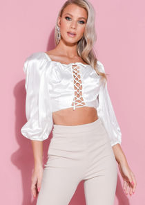 Satin Puff Sleeve Lace Up Front Crop Top White
