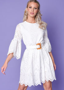Broderie Anglaise Flare Sleeve Gathered Dress White