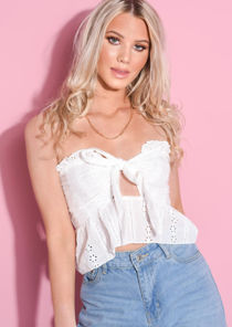Broderie Anglaise Frill Bandeau Crop Top White