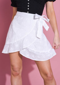 Broderie Anglaise Frill Tie Wrap Mini Skirt White
