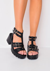 Buckle Chunky Platform Heel Sandals Black