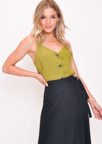 Button Front Cami Top Khaki Green