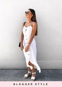 Button Through Cami Maxi Dress White