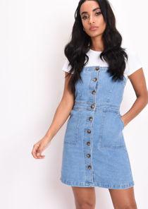 Button Through Pinafore Denim Mini Dress Blue