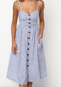 Stripe Button Through Midi Dress Blue