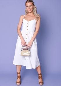 Front Button Through Strappy Midi Dress White