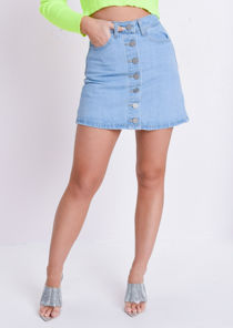 Button Up Mini Denim Skirt Blue