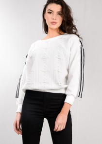 Cable Knit Pearl Ribbon Lace Jumper White