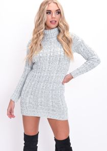 Cable Knit Turtleneck Bodycon Dress Grey