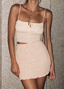 Cami Vest Crop Top Mini Skirt Co Ord Set Beige