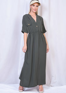 Cargo Side Splits Maxi Shirt Dress Khaki Green