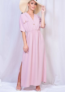 Cargo Side Splits Maxi Shirt Dress Pink
