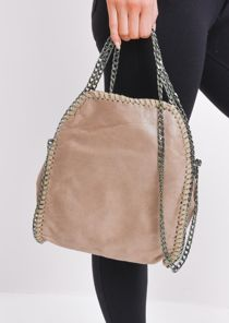 Chain Strap Faux Leather Crossbody Bag Taupe Brown
