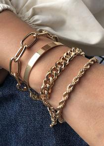 Chained Bangled Four Piece Set Bracelet Gold