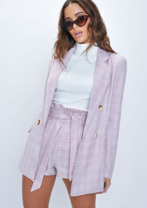 Check Paperbag Waist Shorts Pink