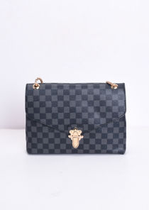 Checkered Shoulder Gold Chain Strap Bag Grey