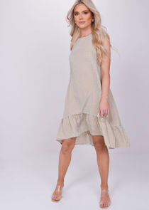 Oversized Sleeveless Checked Print Frilled Dress Brown