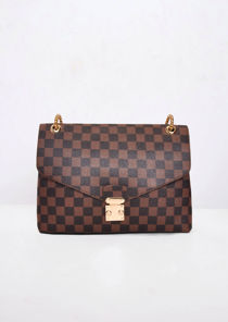 Checkered Shoulder Gold Chain Strap Bag Brown