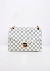 Checkered Shoulder Gold Chain Strap Bag White