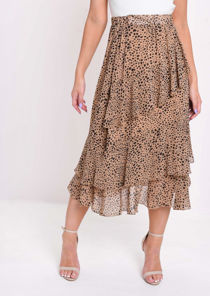 Cheetah Print Frill Chiffon Midi Skirt Brown