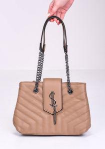 Chevron Chain Shoulder Flap Bag Beige