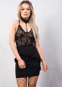 Choker Neck Lace Bodysuit Black