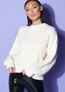Chunky Cable Knitted Long Sleeve Jumper Beige