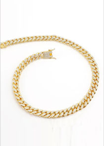Chunky Chain Diamante Long Necklace Gold