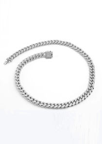 Chunky Chain Diamante Long Necklace Silver