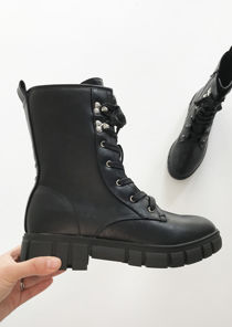 Chunky Cleated Platform Lace Up Combat Biker Boots Black