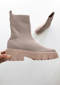 Chunky Cleated Pull On Knit Sock Ankle Boots Light Beige