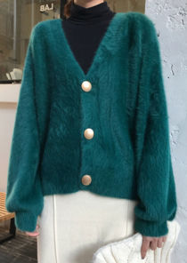 Chunky Fluffy Knit Gold Metal Button Front Cardigan Green