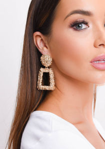 Chunky Geometric Textured Statement Earrings Gold