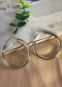 Chunky Hoop Drop Earrings Silver
